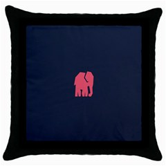 Animals Elephant Pink Blue Throw Pillow Case (Black)