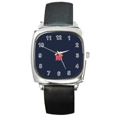 Animals Elephant Pink Blue Square Metal Watch