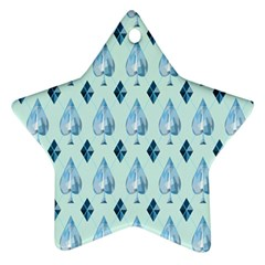 Ace Hibiscus Blue Diamond Plaid Triangle Ornament (Star)
