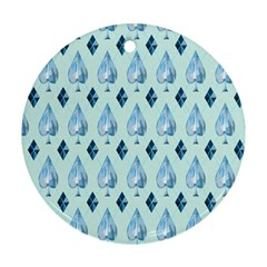 Ace Hibiscus Blue Diamond Plaid Triangle Round Ornament (Two Sides)