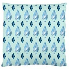 Ace Hibiscus Blue Diamond Plaid Triangle Large Cushion Case (One Side)