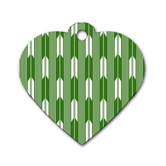 Arrows Green Dog Tag Heart (Two Sides)