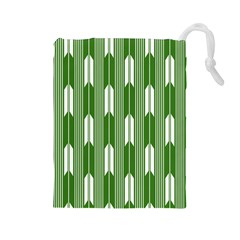 Arrows Green Drawstring Pouches (Large)