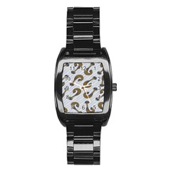 African Fabric Hair Wave Chevron Stainless Steel Barrel Watch