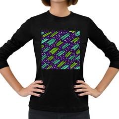 Arrows Purple Green Blue Women s Long Sleeve Dark T Shirts