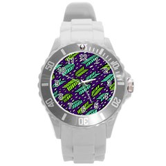 Arrows Purple Green Blue Round Plastic Sport Watch (l)