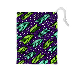 Arrows Purple Green Blue Drawstring Pouches (Large)