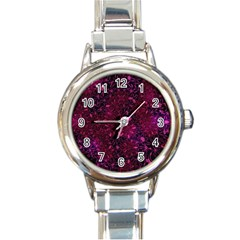 Retro Flower Pattern Design Batik Round Italian Charm Watch