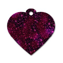 Retro Flower Pattern Design Batik Dog Tag Heart (two Sides)