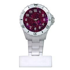 Retro Flower Pattern Design Batik Plastic Nurses Watch