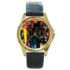 Architecture City Homes Window Round Gold Metal Watch