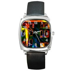 Architecture City Homes Window Square Metal Watch