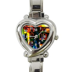 Architecture City Homes Window Heart Italian Charm Watch