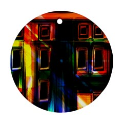 Architecture City Homes Window Round Ornament (two Sides)