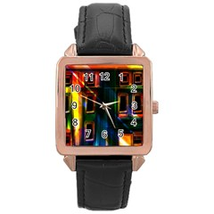 Architecture City Homes Window Rose Gold Leather Watch