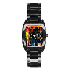 Architecture City Homes Window Stainless Steel Barrel Watch