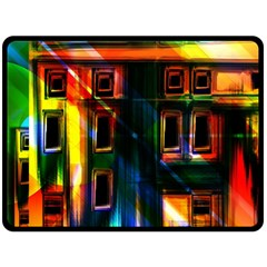 Architecture City Homes Window Double Sided Fleece Blanket (Large)