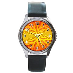 Background Brush Particles Wave Round Metal Watch