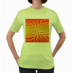 Background Brush Particles Wave Women s Green T Shirt