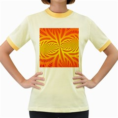 Background Brush Particles Wave Women s Fitted Ringer T Shirts