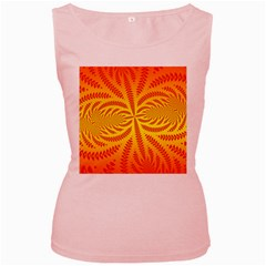 Background Brush Particles Wave Women s Pink Tank Top