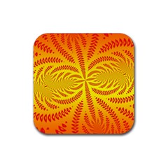 Background Brush Particles Wave Rubber Square Coaster (4 Pack)