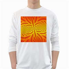 Background Brush Particles Wave White Long Sleeve T Shirts