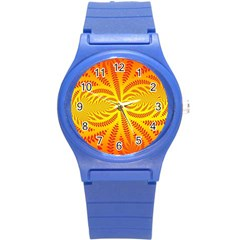 Background Brush Particles Wave Round Plastic Sport Watch (s)