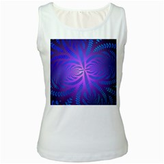 Background Brush Particles Wave Women s White Tank Top