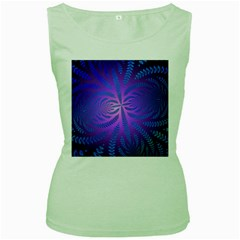 Background Brush Particles Wave Women s Green Tank Top