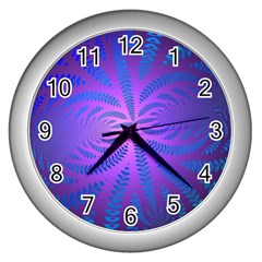 Background Brush Particles Wave Wall Clocks (silver)