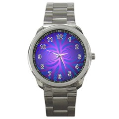 Background Brush Particles Wave Sport Metal Watch