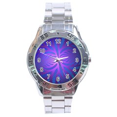 Background Brush Particles Wave Stainless Steel Analogue Watch