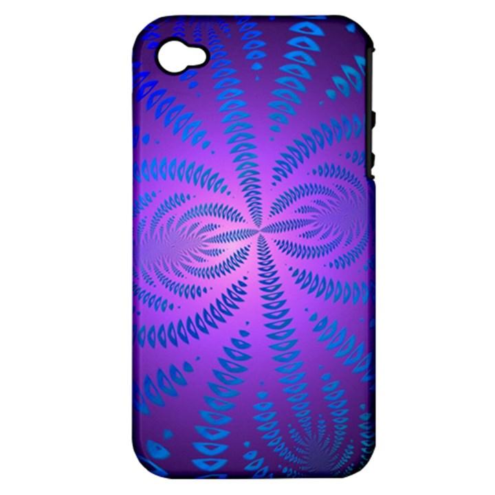 Background Brush Particles Wave Apple iPhone 4/4S Hardshell Case (PC+Silicone)
