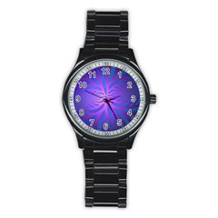 Background Brush Particles Wave Stainless Steel Round Watch