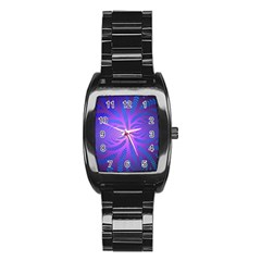 Background Brush Particles Wave Stainless Steel Barrel Watch