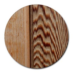 Wood Grain Texture Brown Round Mousepads