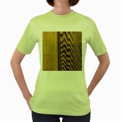 Wood Grain Texture Brown Women s Green T Shirt