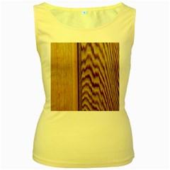 Wood Grain Texture Brown Women s Yellow Tank Top