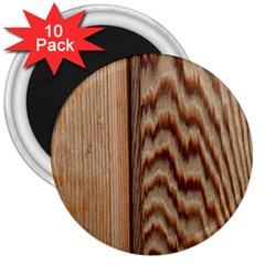 Wood Grain Texture Brown 3  Magnets (10 Pack)