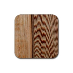 Wood Grain Texture Brown Rubber Square Coaster (4 Pack)