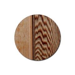 Wood Grain Texture Brown Rubber Round Coaster (4 Pack)