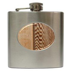 Wood Grain Texture Brown Hip Flask (6 Oz)