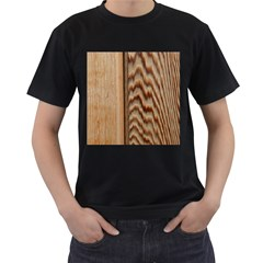 Wood Grain Texture Brown Men s T Shirt (black) (two Sided)