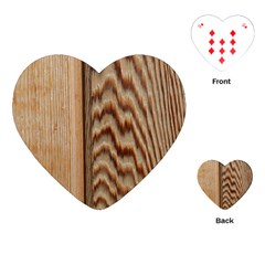 Wood Grain Texture Brown Playing Cards (heart)