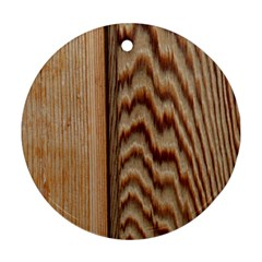 Wood Grain Texture Brown Round Ornament (two Sides)