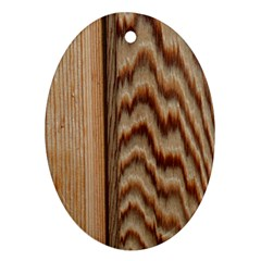 Wood Grain Texture Brown Oval Ornament (two Sides)