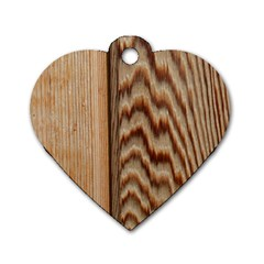 Wood Grain Texture Brown Dog Tag Heart (two Sides)