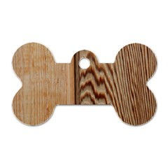 Wood Grain Texture Brown Dog Tag Bone (one Side)