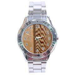 Wood Grain Texture Brown Stainless Steel Analogue Watch